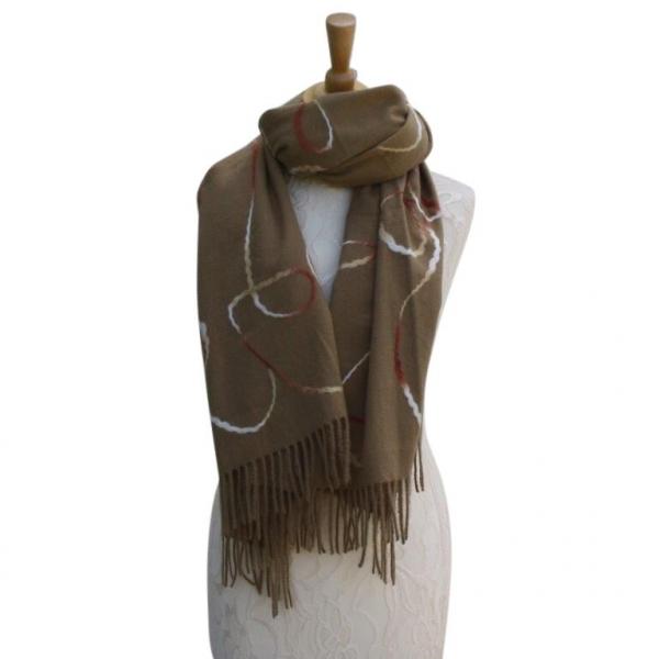 Ws008 Khaki Wool/Viscose Patterned Scarf
