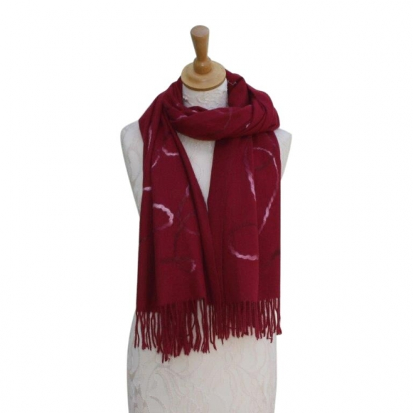 Ws008 Wine Wool/Viscose Patterned Scarf